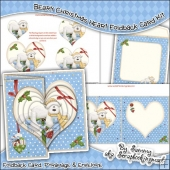 Beary Christmas Heart Foldback Card & Envelope