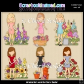 Just Ladies Time For Flowers ClipArt Collection