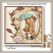 Young Love Leafy Border Pyramid Card Front