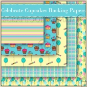 5 Celebrate Cupcakes Backing Papers Download (C179)