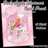 Pink Apple Blossoms Card Front With Insert Panel