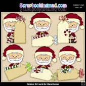 Little Santa Christmas Tags ClipArt Collection