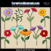 Prim Flowers ClipArt Collection