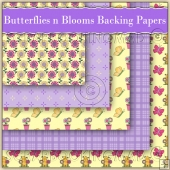 5 Butterflies N Blooms Backing Papers Download (C163)