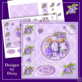 Sweet Violets and Lace Card Front & Decoupage