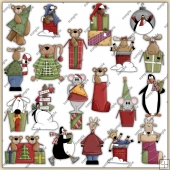 Christmas Critters ClipArt Graphic Collection
