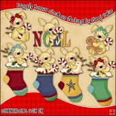 Raggedy Bunnies Christmas Stockings ClipArt Graphic Collection