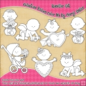 Valentine Babies Colour Your Own Clip Art RESALE SET