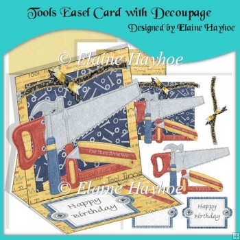 Tools Easel Card with Decoupage