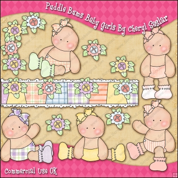 Puddle Bums Baby Girls ClipArt Graphic Collection