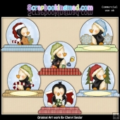 Penguin Snowglobe ClipArt Collection