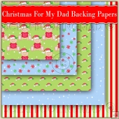5 Cute Christmas For My Dad Bear Backing Papers Download (C198)