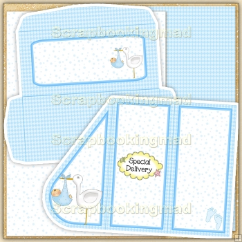 Blue Baby Teardrop Card PDF Decoupage Download