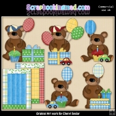 Birthday Bears Boys ClipArt Graphic Collection