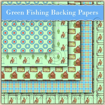 5 Green Fishing Backing Papers Download (C74)