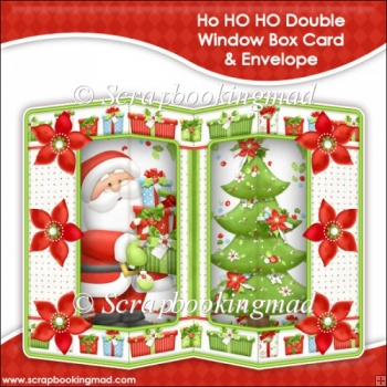 HO HO HO Double Window Box Card and Envelope