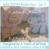 Baby Animals Basket/Box - Set 2