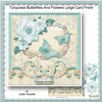 Turquoise Butterflies And Flowers Large Card Front