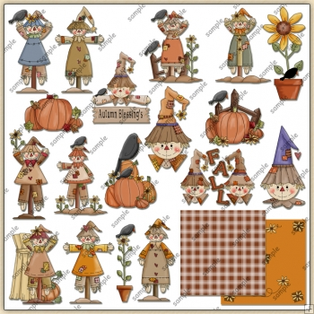 Autumn Fall Scarecrows ClipArt Graphic Collection 2