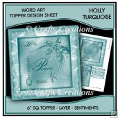 Word Art 6 inch sq Topper/Card Front - Holly Turquoise