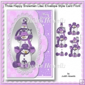 Three Happy Snowmen Lilac Envelope Style Card Front