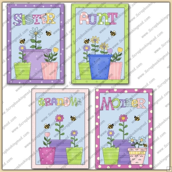 4 Flower Pot Quick Greeting Cards PDF Download