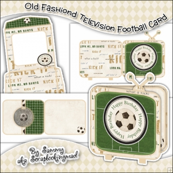 Old Fashiond Television Football Card, Insert & Envelope