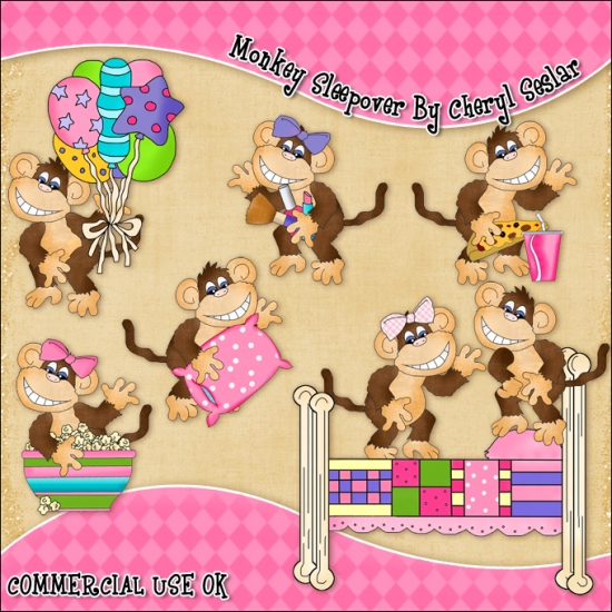 Monkey Sleepover ClipArt Graphic Collection - Click Image to Close
