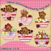 Tattered Teddies Valentine Bowls ClipArt Graphic Collection
