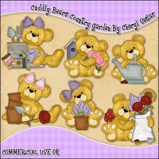 Cuddly Bears Country Garden ClipArt Graphic Collection - Click Image to Close