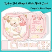 Baby Girls 1st Birthday Shaped Side Fold Card