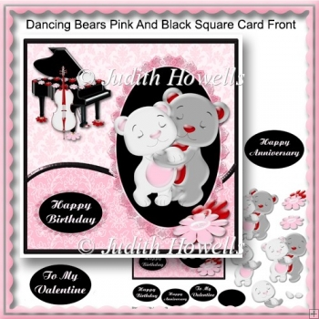 Dancing Bears Pink And Black Square Card Front