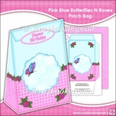 Pink Blue Butterflies N Roses Pinch Bag
