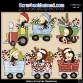 Penguin Christmas Train ClipArt Collection