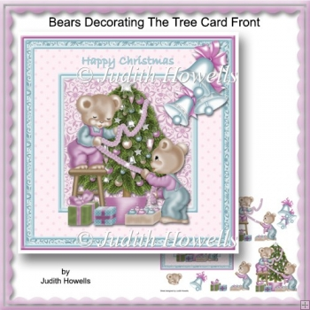 Bears Decorating The Tree Card Front