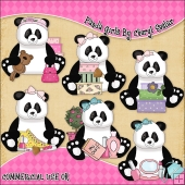 Panda Girls ClipArt Graphic Collection