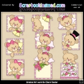 Peek A Boo Bears Wedding ClipArt Graphic Collection
