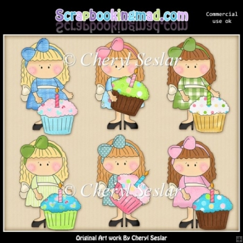 Lovely Lola Birthday Cupcakes ClipArt Collection