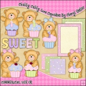 Chubby Cubby Love Cupcakes ClipArt Graphic Collection