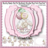 Bunny Baby Girl Or Birthday Double Pop Out Card Kit