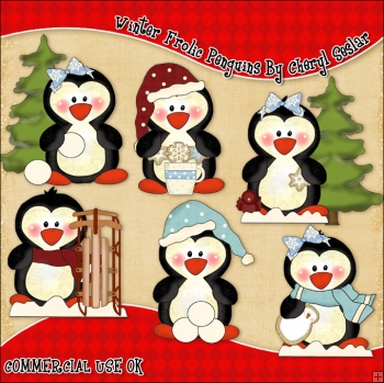 Winter Frolic Penguins ClipArt Graphic Collection