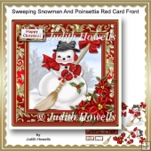 Sweeping Snowman And Poinsetttia Red Card Front