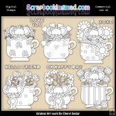 Little Mouse Tea Cups Digital Stamp Graphic Collection