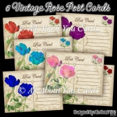 6 Vintage Rose Post Card Toppers