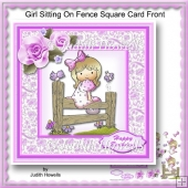 Girl Sitting On Fence Square Card Front