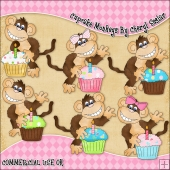 Cupcake Monkeys ClipArt Graphic Collection
