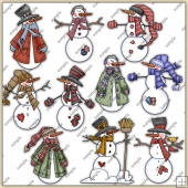 Snowmen ClipArt Graphic Collection 1