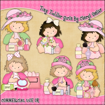 Tiny Toddler Girls ClipArt Graphic Collection