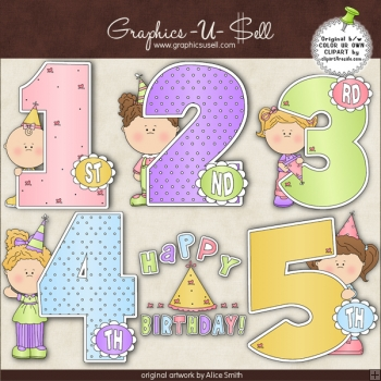 Birthday Years Girls 1 ClipArt Graphic Collection