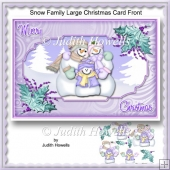 Snow Family Large Christmas Card Front